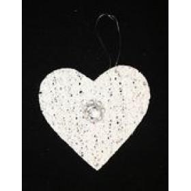 """ПІДВІСКА """"Серце"""" d-9см двостор білий D415191"""